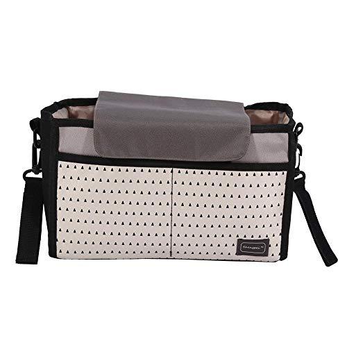 Sorand Bolsa de Cochecito de bebé, 2 Colores Bolsa de pañales de Nylon portátil multifunción Bolsa de Almacenamiento de Momias Bolsa de pañales Grandes Compartimentos(Negro)