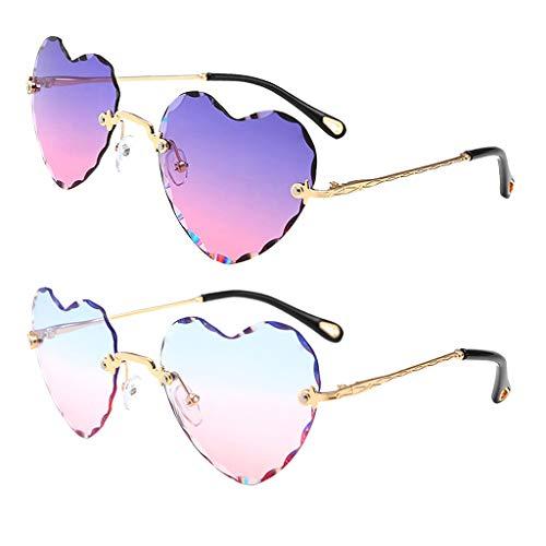 Harilla Paquete de 2 Gafas de Sol Vintage con Forma de Corazón, Lentes Tintadas, Lentes Anti UV