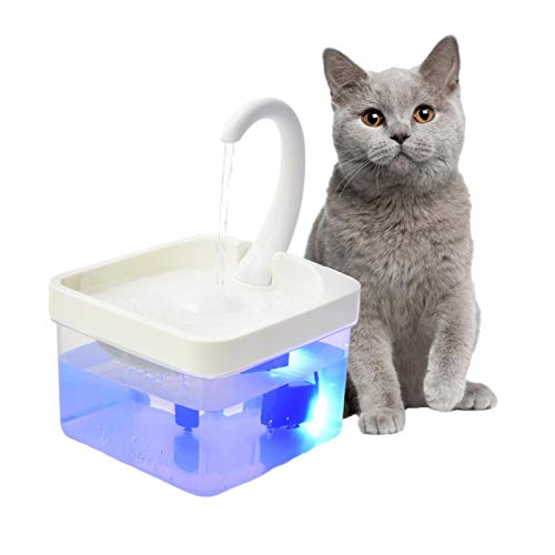 Fuente para animales de compañía, dispensador de agua para gatos, bebedero vivo, sistema de filtración de alta eficiencia, fuente de bebida automática LED para animales de compañía para gatos