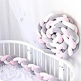 Paracolpi Lettino Neonato, Paraurti Imbottitura in Cotone, Protezione Intrecciato Culla Bambino Lungo Nido 2M Bianco+Grigio+Rosa