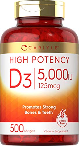 Vitamin D3 5000 IU   500 Softgels   Value Size   Non-GMO and Gluten Free Supplement   125mcg   by Carlyle