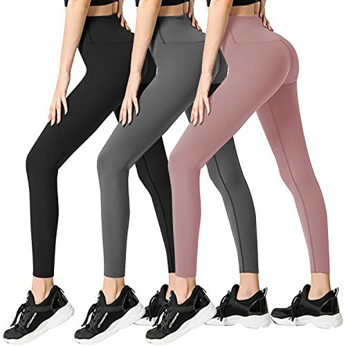 3 Pack Womens Leggings-No See-Through High Waisted Tummy Control Yoga Pants Workout Running Legging-Reg&Plus Size (3 Pack Black, Dark Grey,...