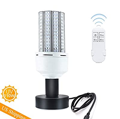 UV Germicidal Lamp with Base with Remote Control,110W E26, E27 Led UVC Light Bulb Suitable for Home, Restaurant,Office, Warehouse, Supermarket UV Light Sanitizer Bulb