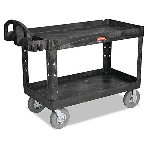 Rubbermaid Commercial Heavy-Duty 2- Shelf Utility Cart, Ergo Handle, Lipped Shelves, Large, Black (FG454600BLA)