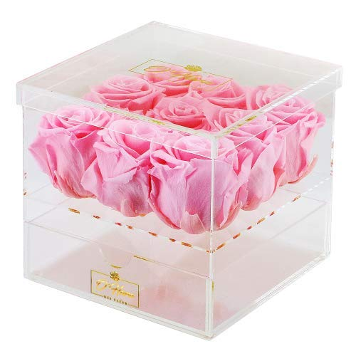 O'HARA DES FLEUR | Preserved Roses in a Box |Real Roses That Last a Year or More|No Need to Water Or Deal with Wilted Petals|Mother's Day (Pink , Acrylic Box)
