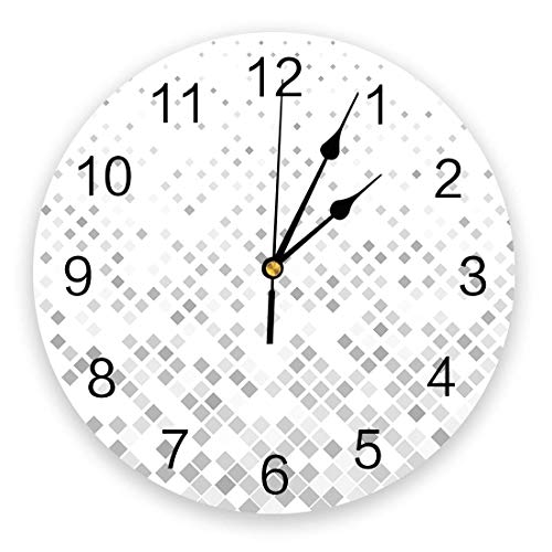 Wall Clocks Battery Operated Living Room Kitchen Wall Decor, 10 In Round Chic Wall Clock Silent Non Ticking Geometric Vintage Rectangle Gradient Ball Hanging Clock for Home Bedroom Patio Office School
