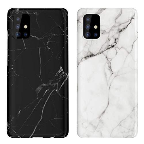 KARELIFE 2 Stück Marmor Hülle für Samsung Galaxy A51 Hülle Silikon, Matt Weich Kratzfest Handyhülle Flexible TPU Bumper Dünn Schutzhülle für Samsung A51 - Schwarz, Grauweiß
