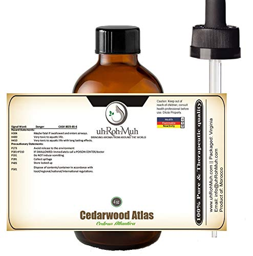 100% Pure Cedarwood Atlas Essential Oil    Cedrus Atlantica    Origin: Morocco. Use for perfumes or Bath and Body Products or Aromatherapy - 4 oz with Pipette