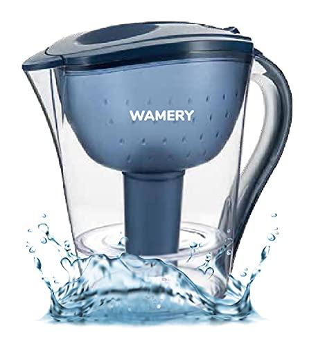 Wamery Jarra Filtradora de Agua Con Capacidad de Filtrar el Cloro, Cal y Plomo del Agua del Grifo - Jarra de Agua de 2 Litros con Filtro Gratis Compatible con Brita.