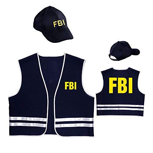 Widmann 58958 - Kostümset FBI Agent, Weste, Cap, Geheimagent, Sicherheitsdienst, Mottoparty, Karneval