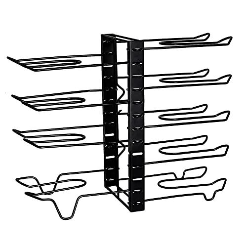 Organizador de cacerolas de 10 niveles, estante organizador de ollas y sartenes para gabinete, construcción de acero duradero, no requiere montaje