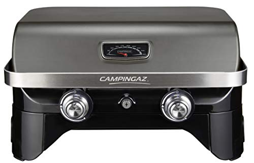 Campingaz Attitude 2100 LX Gas Grill, Portable Table Top Grill, 2 Steel Burners, 5 KW Power, Camping Gas Barbecue with Lid, Thermometer, Cast Iron Grill Grid and Plancha