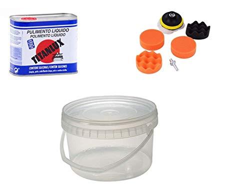 TITANLUX M30738 - Pulimento liquido 080 375 ml + Set Kit de Rueda de Esponja de Pulido para automóvil de 3 Pulgadas con Adaptador de Taladro M10 + Cubo PLASTICO DE 2500 CC