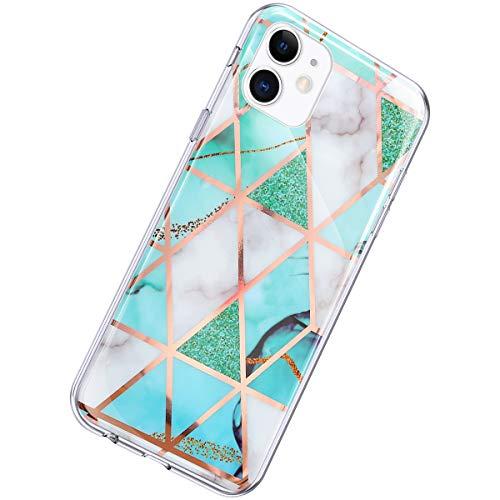 Herbests Kompatibel mit iPhone 11 Hülle Glänzend Glitzer Marmor Muster Schutzhülle Weich Silikon Ultra Dünn Handyhülle Handytasche Durchsichtige Silikon Hülle Case,Marmor Weiß Grün