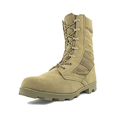 Bufferzone Men's 9' Tan Military Tactical Boot with Zipper, 9M