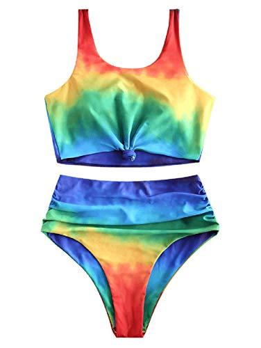 ZAFUL Zweiteiler Bikini Set, Tankini mit vorder Knot & Regenbogenfarben Oberteil hoher Taille Badehose (Mehrfarbig-A, S)