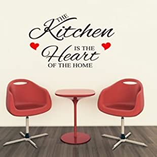 1Stop Graphics - Shop The Kitchen Is The Heart Of The Home Small Wall Art Quote Sticker - Heart Colour Red - Colour Black