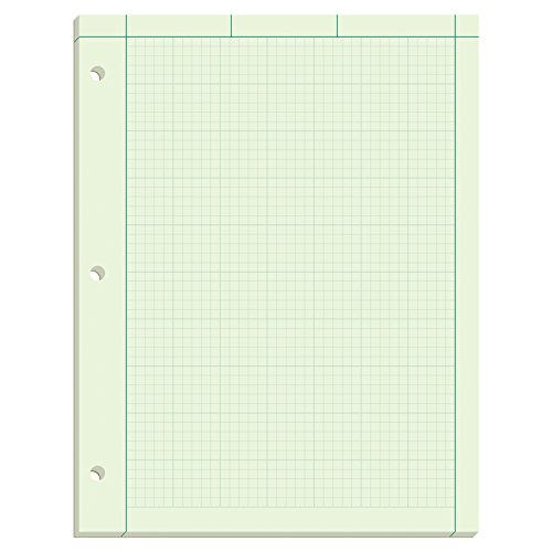 """Ampad Evidence Engineering Pad, 100 Sheets, 5 Squares Per Inch, Green Tint, 11""""H x 8 1/2""""W"""