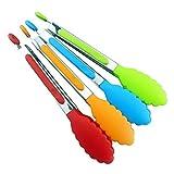 Festnight Pinzas de Silicona de 8 Pulgadas Mini Pinzas de Cocina con Puntas de Silicona Pinzas pequeñas para Servir Pinzas de Cocina de Acero Inoxidable para ensaladas,freír y cocinar Color Aleatorio