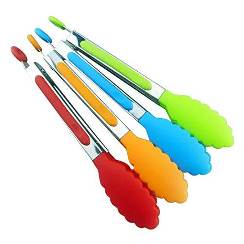 Leeofty 8-Zoll-Silikonzange Mini-Küchenzange mit Silikonspitzen Kleine Servierzange Edelstahl-Kochzange für Salat, Grillen, Braten und Kochen in zufälliger Farbe