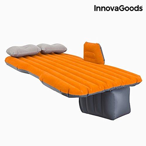 InnovaGoods lit Gonflable pour Voiture, PVC, Orange et Gris, 86x 135x 40cm