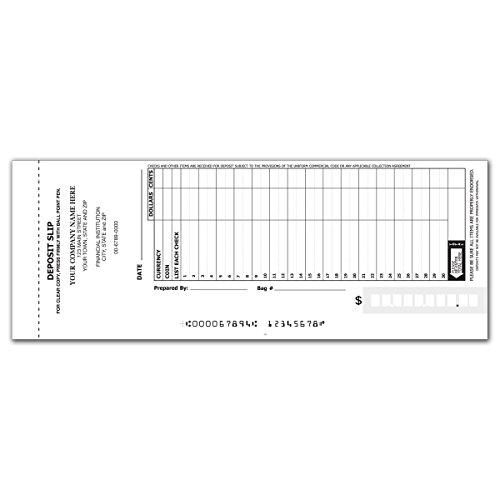 30-Line Booked Deposit Slips - Deposit Slip Books for Business (300 qty) - Custom
