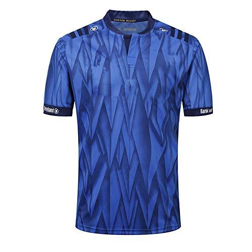 Axdwfd Rugby-Anzug Rugby Jersey, Leinster Rugby Anzug, Heimtrikot des Sportlers, 2019 aus Baumwoll-Jersey-T-Shirt, beiläufiger T-Shirt Kleidung, bedrucktes Ober (Color : Blue, Size : L)