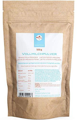 Vollmilchpulver (500g) - 26% Fett - lange haltbar im wiederverschließbarem Standbodenbeutel von Kaona