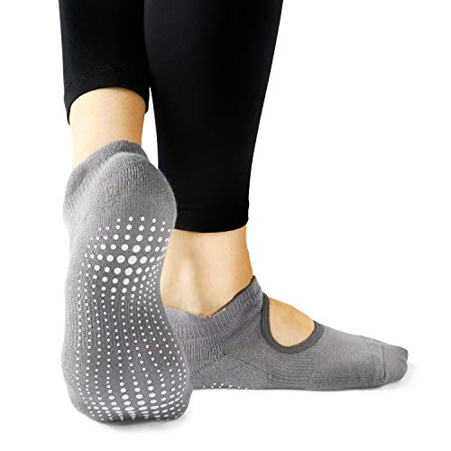 LA Active Grip Socks - 1 Pair - Yoga Pilates Barre Non Slip - Ballet (Powder Grey, Medium)