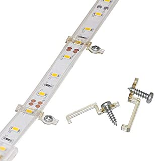 Griver 100 Pack Strip Light Mounting Brackets,Fixing Clips,One-Side Fixing,100 Screws Included (Ideal for 12mm Wide IP68 Silicone Cover Strips)