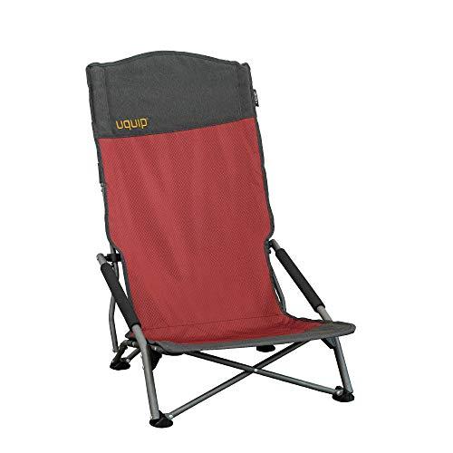 Uquip Strandstuhl Sandy XL - Bequemer Klappstuhl mit extra hoher Rückenlehne - Rot