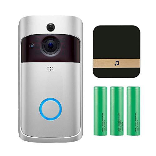 Video Doorbell Cámara con Timbre, Cámara Inalámbrica WiFi Smart Video Doorbell Cámara De Seguridad con Detección De Movimiento, Audio De 2 Vías, Visión Nocturna (Color : Silver)