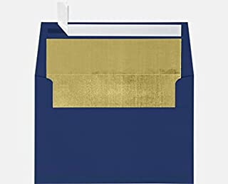 A7 Foil Lined Invitation Lined Envelopes w/Peel & Press (5 1/4 x 7 1/4) - Navy Blue w/Gold LUX Lining (50 Qty.) | Perfect for Invitations, Announcements, Sending Cards, 5x7 Photos | 60lb Paper