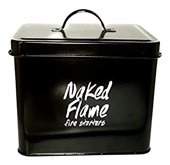 Naked Flame Small Black Enamel Metal Bucket with Lid for Charcoal Starters Fatwood Caddy Fire Pit Accessories Fireplace Accessory Wood Stove Fire Starter Tin.