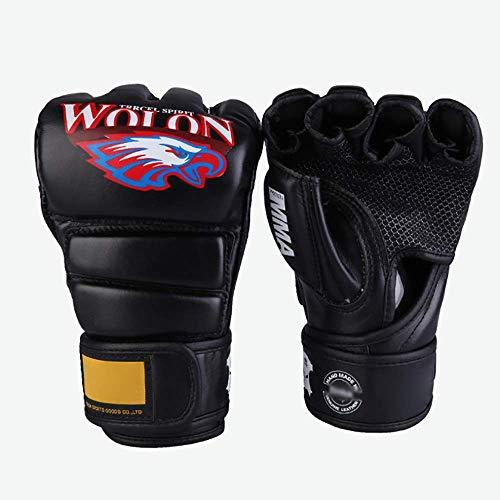 Bokshandschoenen Grappling Gloves Vechtsporten Sparring bokszak PU Leather Half Mitts Combat Training Handschoenen for Kickboxing Sparring (Kleur: Zwart, Maat: L) Bokshandschoenen en tas,leilims