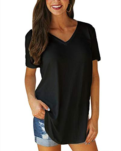VONDA Camiseta de Mujer Manga Corta Cuello Pico tee Camiseta para Mujer Casual Loose Fit Túnica Tops para Verano A-Negra S