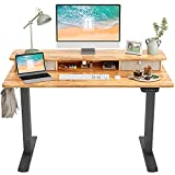 FEZIBO Height Adjustable Electric Standing Desk with Double Drawer, 48 x 24 Inch Stand Up Table with Storage Shelf, Sit Stand Desk with Splice Board, Black Frame/Light Rustic Top
