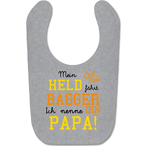 Sprüche Baby - Mein Held fährt Bagger - Unisize - Grau meliert - sandspielzeug bagger - BZ12 - Baby Lätzchen Baumwolle