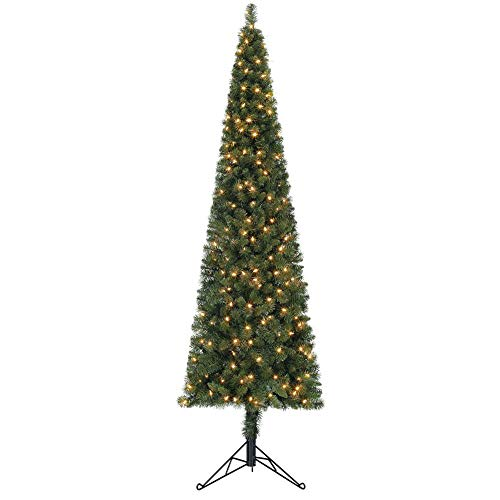 Home Heritage 7 Foot Artificial Pine Corner Christmas Tree with LED White Lights and Stand (Santa's Best 7.5 Starry Light Microlight Tree W Flip Leds)