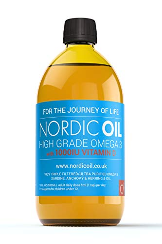 Nordic Oil High Strength 500ml Omega 3 Fish Oil with 1000iu Vitamin D3 in Natural Cholecalciferol Form. Taste Award Winning Lemon Flavoured and Tested