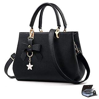 scheda uraqt borsa a mano donna, borse a spalla donna in pu pelle, borse tote donna per shopping, partito, casual & work, versione aggiornata - nero