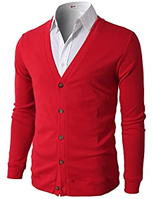 H2H Men's Casual Fashion Long Sleeve Slim Fit V-Neck Cardigan RED US M/Asia L (CMOCAL012) from