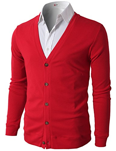 H2H Mens V Neck Button Business Suit Cotton Cardigan Sweater RED US XL/Asia 2XL (CMOCAL012)