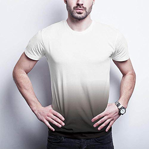 Qier Tshirt Herren Grafische Kurzarm-Oberteile, Baumwoll-T-Shirt, T-Shirts Mit 3D-Farbverlauf, Weiß, M.