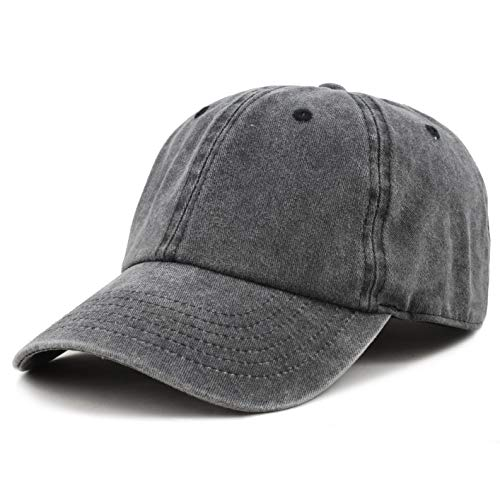 The Hat Depot 100% Cotton Pigment Dyed Low Profile Six Panel Cap Hat (Black)