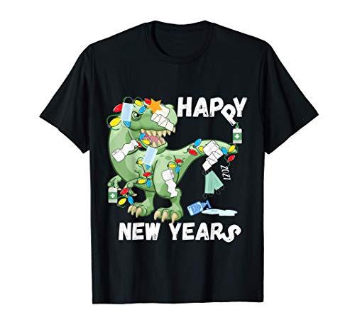 New Years Funny T Rex Dinosaur Quarantine Men Family Kids T-Shirt
