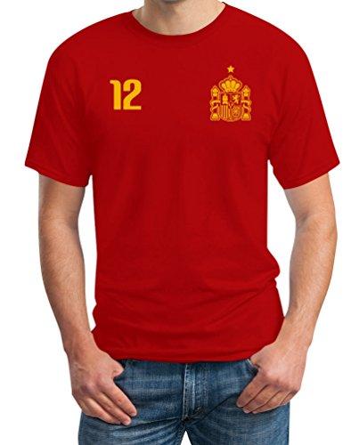 Maglia Uomo - Coppa del Mondo - Fan Spagna T-Shirt Maglietta Uomo Large Rosso