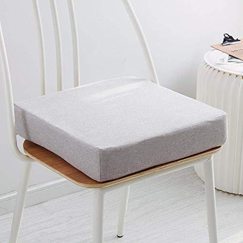 DIELUNY Cojines de silla de color sólido sin deslizamiento, cojín de asiento grueso para interior y exterior 35d esponja transpirable almohadillas para silla overstuffed gris claro 40 x 40 x 6 cm