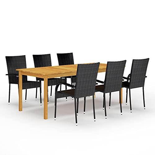 vidaXL Gartenmöbel Set 7-TLG. Sitzgruppe Gartengarnitur Sitzgarnitur Gartenset Esstisch Tisch Stühle Sessel Gartensessel Gartentisch Schwarz