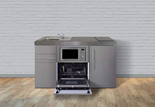 Stengel Steel Concept Miniküche Premiumline MPGSMES 150 – Edelstahl – Kühlschrank – Schublade – Geschirrspüler – Mikrowelle (Induktionskochfeld Links - Becken rechts - Schublade)